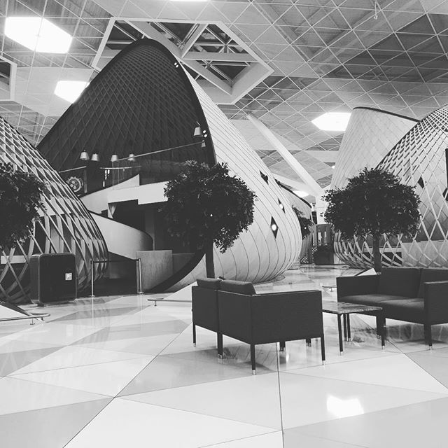 A cocooning concept, steel and wood in #baku airport.
