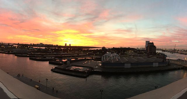 Sunset at Port of Antwerp, seen from the Port House